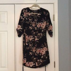 Floral belted shirt dress